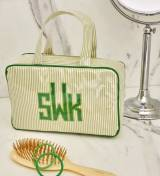 Small Handled Cosmetic Case In Green Pinstripe  . . .