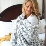 Monogrammed Smokey Leopard Blanket
