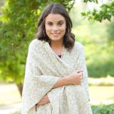 Monogrammed Natural Leopard Kennedy Shawl