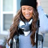 Monogrammed Black Buffalo Check Wide Scarf