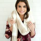 Monogrammed Natural Buffalo Check Wide Scarf