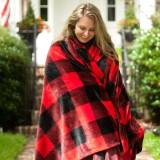 Monogrammed Red Buffalo Check Plush Blanket