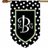 Monogrammed Flag Black And White Polka Dot  . . .