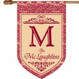 Monogrammed Red Floral House Flag
