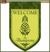 Pineapple And Green Paisley Monogrammed Flag