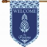 Monogrammed Welcome Pineapple And Blue Flag