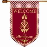 Monogrammed  Burgundy  Pineapple Flag