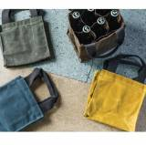 Monogrammed Waxed Canvas Beer Bottle Carrier