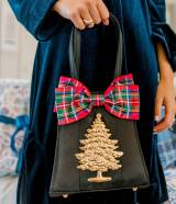 Holiday Black Purse With Plaid Bow And  . . .