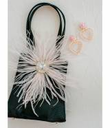 Jackie Little Black Bag With Ostrich Feathers