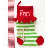 Personalized Green Stripe Pom Pom Knit  . . .