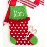 Personalized Red Dot Pom Pom Knit Stocking