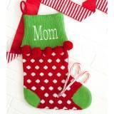 Personalized Red Dot Pom Pom Knit Stocking