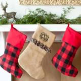 Personalized Leopard Ruffle Burlap Stocking
