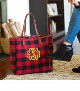 Monogrammed Red Buffalo Check Hayden Tote