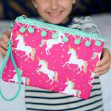 Personalized Unicorn Wishes Wristlet Pouch