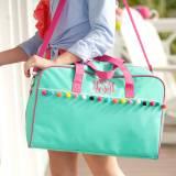 Personalized Mint Pom Pom Travel Bag