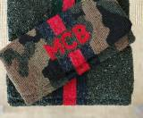Monogrammed Camo Clutch With Red Racing  . . .
