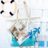 Clear Blue Palm Summer Tote