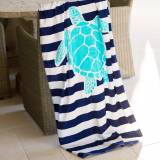 Personalized Turtle Stripe Beach Towel