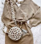 Round Natural Leopard Hand Beaded Bag With  . . .
