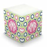 Personalized Maggie Lime & Navy Memo Cube