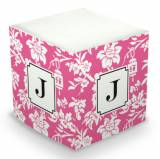 Personalized Anna Floral Raspberry Memo Cube