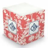 Personalized Pagoda Garden Coral Memo Cube