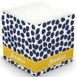 Personalized Organic Dots Deep Navy Memo Cube