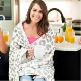 Monogrammed Natural Leopard Plush Blanket