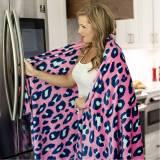 Monogrammed Hot Pink Leopard Plush Blanket