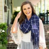 Monogrammed Navy Plaid Oversized Scarf