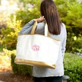 Monogrammed Creme Cabana Tote Bag