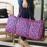 Monogrammed Pink Leopard Duffel Bag