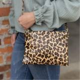 Monogrammed Leopard Wristlet Crossbody Purse