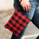Monogrammed Red Buffalo Check Crossbody  . . .