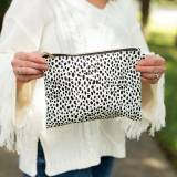 Monogrammed Spotted Crossbody Wristlet Purse