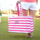 Monogrammed Hot Pink Stripe Ultimate Tote
