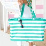 Monogrammed Mint Stripe Ultimate Tote
