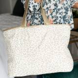 Monogrammed Natural Leopard Ally Tote