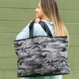 Monogrammed Black Camo Ally Tote