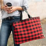 Monogrammed Red Buffalo Check Ally Tote