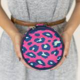 Monogrammed Pink Leopard Jewelry Case