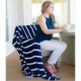 Personalized Navy Stripe Plush Blanket