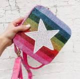 Beaded Crossbody Stars And Rainbow Stripes