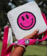 Beaded Crodsboy Purse White With Hot PInk  . . .