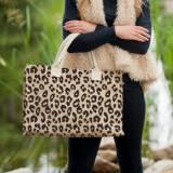 Monogrammed Leopard Burlap Tote Bag