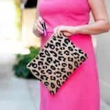 Monogrammed Leopard Burlap Zippered Pouch