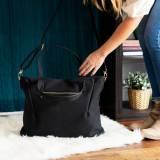 Monogrammed Black Vegan Leather Bag