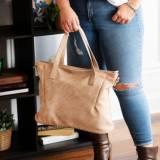 Monogrammed Tan Vegan Leather Bag